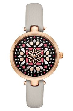 Free shipping and returns on kate spade new york holland mosaic leather strap watch, 34mm at Nordstrom.com. Glossy drops of color and sparkly crystals add brilliant life to the inky-black dial of this rosy polished watch set on a slender leather strap.