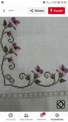 Lovely floral/roses cross stitch embroidered tablecloth in white linen from Sweden Cross Stitch Tree, Simple Cross Stitch, Cross Stitch Patterns, Crochet Patterns, Hobbies And Crafts, Diy And Crafts, Palestinian Embroidery, Crochet Bedspread, Drawn Thread