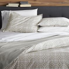 Taza Grey Full/Queen Duvet Cover in Duvet Covers & Duvet Inserts | Crate and Barrel