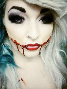 Halloween Makeup Idea, Black Dahlia. I really want to be something scary like this!