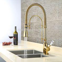 2016 Premium Commercial Pre-Rinse Golden Pull-Down Kitchen Faucet Exclusive Gooseneck Sink Mixer Tap