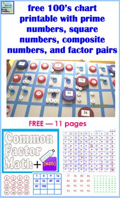 Math Chart And Activity For Prime Composite Square Factor Pair Numbers Http