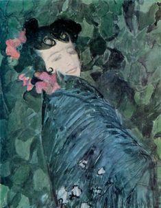 Spanish Woman, 1902 by Alexander Golovin (Russian Spanish Woman, Call Art, Russian Fashion, Russian Art, Flower Fashion, Women's Fashion, Impressionism, Portrait, Drawings
