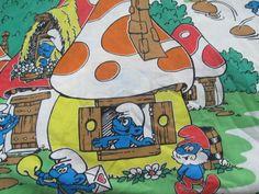 Vintage Smurfs Bed Sheets Complete 3 Piece Set Smurfs Village Mushrooms Cartoon #Lawtex