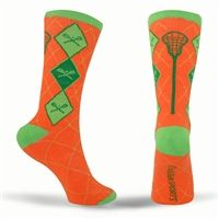 Lacrosse Style Argyle Crew Socks - Orange/Green