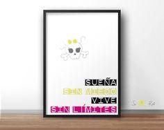 "Lámina tipográfica ""VIVE sin miedo, SUEÑA sin límites""  suandroll.com"