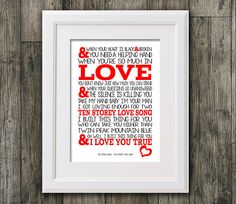 Stone Roses - Ten storey love song  8x10 picture mount & Print Typography song music lyric for self framing (No Frame)