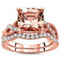 8mm Cushion Cut Morganite Diamond Engagement Ring Bridal Set 14k Rose Gold