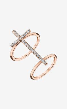 Shayan Afshar Rose Gold Diamond Cross Ring ($5,000)