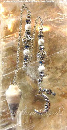 Mystic Moon Pendulum Crazy Lace Agate Pendulum by StarshineBeads