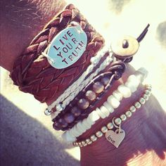 Leather Braided Beach Wrap Boho Bracelet with personalized Inspiration - Live Your Truth on Etsy, $38.00