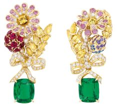 Dior 'PRÉCIEUSES' CHAMPÊTRE EARRINGS: Yellow gold, diamonds, emeralds, rubies, sapphires, yellow sapphires, purple sapphires and pink sapphires.