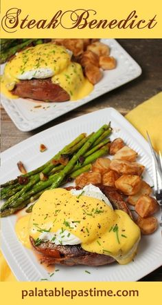 Ditch the English muffin in this over-the-top steak and egg breakfast. We like beef tenderloin topped with a poached egg and Hollandaise sauce. Steak Benedict By Sue Lau Egg Recipes, Brunch Recipes, Pasta Recipes, Breakfast Recipes, Dinner Recipes, Cooking Recipes, Breakfast Ideas, Dinner Ideas, Healthy Recipes