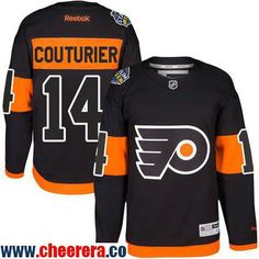 29a6d055b Men s Philadelphia Flyers  14 Sean Couturier Black 2017 Stadium Series  Stitched NHL Reebok Hockey Jersey