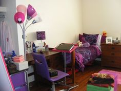 Purple dorm room