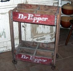 cart made from old Dr Pepper crates...would be cute with flower pots sitting in it