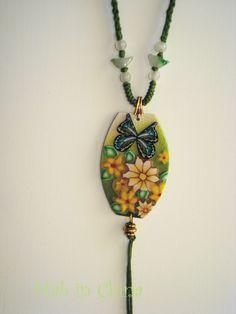 pendentif fleuri polymère
