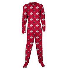 Ohio State Buckeyes Red Adult One-Piece ''Mansie'' Footie Pajama Suit