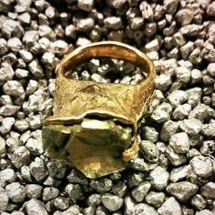 Bronze ring with pirite sculpture..