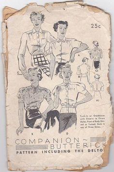 Butterick 7246. 1930s Vintage Pattern. Women's Blouse Vintage Pattern.