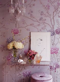 Chinoiserie Chic: Lavender & Chinoiserie & Inspiration Boards lavender chinoiserie wallpaper with lucite console and crystal sconce De Gournay Wallpaper, Chinoiserie Wallpaper, Of Wallpaper, Purple Wallpaper, Gracie Wallpaper, Chinoiserie Fabric, Bedroom Wallpaper, Wallpaper Ideas, Home Interior