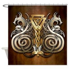 Norse Valknut Dragons Fabric Tapestry / Shower Curtain