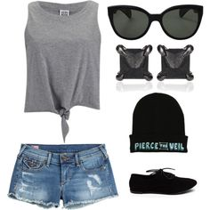 Hanging out by kaitlynsmx on Polyvore featuring polyvore fashion style Vero Moda True Religion Eva Fehren Oliver Peoples