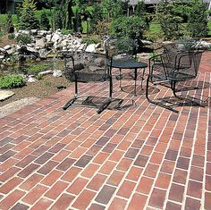 Love this outdoor patio space with gorgeous pond featuring our pavers! Pavers Patio, Backyard Patio, Cobblestone Pavers, Brick Projects, Paving Design, Brick And Stone, Wonderful Places, Outdoor Spaces, Pond