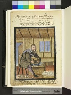 Amb 317b.2 ° folio 87 verso 1610 The brother sits hunched before his Wetrkblock and meshes with a large, two-slip wool brush. More wool is ready in a basket on the floor.