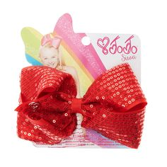 <P>This stunning red hair bow from the Jojo Siwa collection has been designed with all over little sequins to give you some added sparkle when you dance. The bow has been attached to a metal salon clip making it really easy to wear.</P><UL><LI>Jojo Siwa collection <LI>Small red sequin bow <LI>Metal salon Clip</LI></UL><P>The Jojo Siwa signature bow collection is available at Claire's and has been inspired by Jojo's iconic dance hair styles featuring a fun range of bright and sparkly…