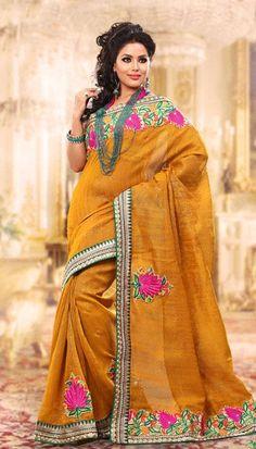 $76.64 Orange Embroidered Jute Silk Saree 24279