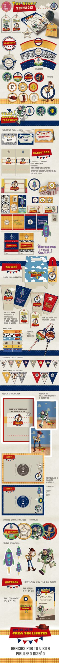 Kit imprimible Toy Story Vintage #kitimprimible #toystory
