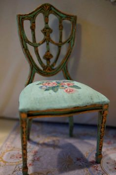 Ooak Shield Back Chair,hand Painted Seat