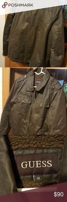 Men's medium Guess leather jacket Great condition men's medium Guess leather jacket brown Guess Jackets & Coats