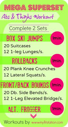 Mega Superset Abs and Thighs Workout infographic via www.myfitstation.com