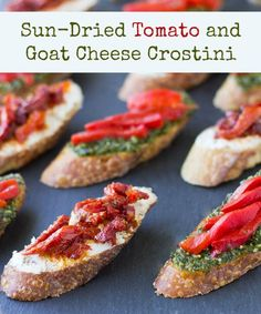 Tangy goat cheese crostini topped with rich, sweet sun-dried tomatoes. It's an…