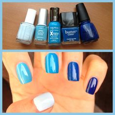"""DIY :: Blue Ombre Nails :: Thumb to Pinky: Essie """"Borrowed and Blue"""", Petites Color Fever """"Creme Blue"""" (cheap Rite Aid brand), Sally Hansen Xtreme Wear """"Blue Me Away!"""", Butter London """"Blagger"""", China Glaze """"ManHunt"""""""