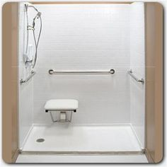 Tub space converted to accessible shower.