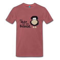 """Klassisch geschnittenes T-Shirt für Männer, Motiv: """"Gib mir nur die Schuld."""" // #TShirt #Shirt #Männer #Schaf #Schuld #schwarzesSchaf #Sündenbock #Schuldzuweisung #MeerART / gepinnt von www.MeerART.de"""