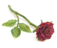 Роза из бисера в технике мозаичного плетения