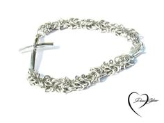 Silver Cross Byzantine Bracelet - Cross Bracelet Sideways by DameCreation on Etsy