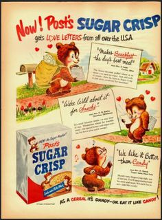 1951 Vintage Ad for Post's Sugar Crisp Cereal ~   ...Please save this pin.  Because for vintage collectibles - Click on the following link!.. http://www.ebay.com/usr/prestige_online