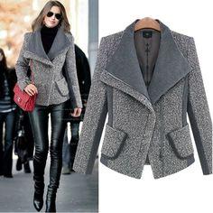 Nuevo Invierno Mujeres de la Capa de estilo de La Moda Lana Mezclas Abrigos Abrigo gris para mujer chaquetas de invierno y abrigos dames jassen donna cappotto(China (Mainland))