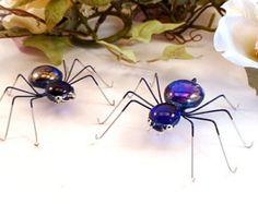 Dos arañas azul alambre arte bichos regalo para entomólogos Bug amantes cumpleaños regalo arácnidos, las arañas únicas dulce moda realista 3 pulgadas