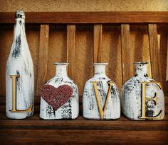 b81e0d740c7 Love set. Painted wine bottle. Painted patron bottles. Home decor.  Decorated wine bottles. Rustic de