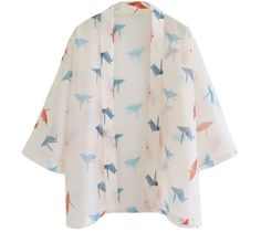 pre-order: Lost in Kyoto summer version Japanese ivory paper crane transparent yarn kimono/pants limited edition