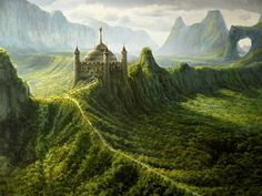 Fantasy castle covered in moss