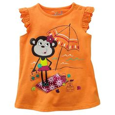 Beiars cotton kids baby infants girl short sleeve t-shirt monkey beach tee