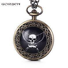 Vintage Skull with Wings Design Quartz Pocket Watch Men GORBEN Top Brand Watch Women With FOB Chain Men's Watches Gift Set GO62