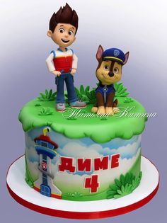 This amazing Chase and Ryder PAW Patrol Cake has terrific hand-crafted figures on the top of the cake. Paw Patrol Chase Cake, Paw Patrol Torte, Paw Patrol Cake Toppers, Paw Patrol Birthday Cake, 4th Birthday Cakes, Paw Patrol Playset, Paw Patrol Figures, Paw Patrol Decorations, Cumple Paw Patrol